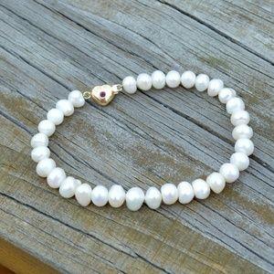 Jewelry - 14k Gold Ruby Heart Freshwater Pearl Bracelet