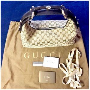 💯💝😍Authentic Gucci Signature Horsebit Hobo Bag
