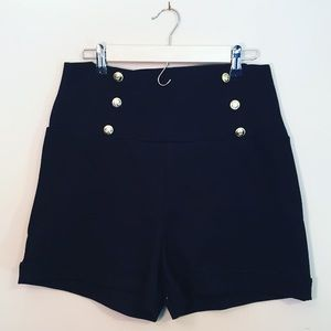 Pants - NWT Black High-waisted Shorts w Gold Buttons Sz XL