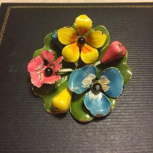 Jewelry - VINTAGE ENAMEL FLORAL PAINTED 3D BROOCH 