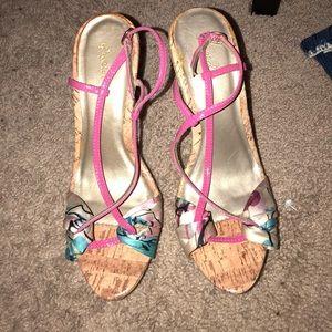 Platform hot pink patent leather strap sandals