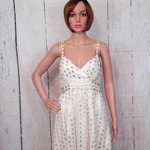H&M White & Gold Sz 8 Metallic Circle Shift Dress