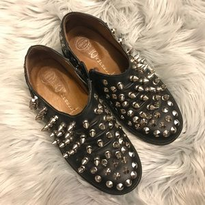 Jeffrey Campbell Spiked Studded Zip-Up Sneakers