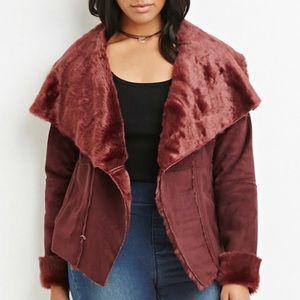 Plus Size Faux Fur-Lined Coat