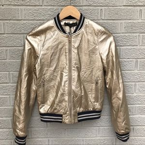 NEW Zara Metallic Gold Bomber Zip Up Jacket NWT
