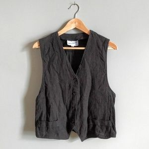 vintage textured 100% cotton button front vest