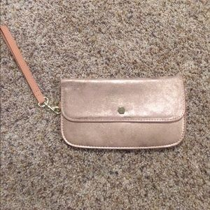 Maurice's pink shimmery clutch/wristlet
