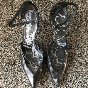 Balenciaga Black Leather/Suede Strappy Pumps