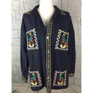 Vintage Mayan Modern Embroidered Chambray Jacket