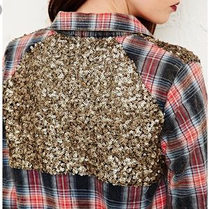 Free People Sugar Sequin Flannel