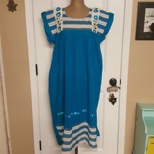 Vintage Blue Mexican Embroidered Dress
