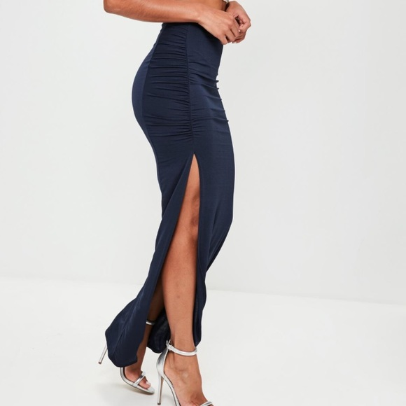 Missguided Dresses & Skirts - Navy ruched maxi skirt 💙
