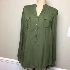 Anthropologie button/braid trim blouse