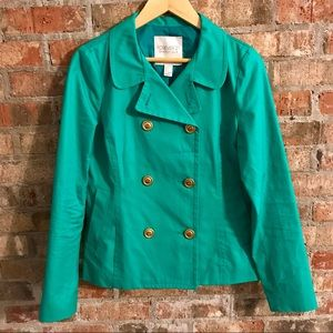 🆕 NWOT Forever 21 Teal coat with gold buttons