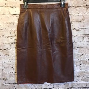 Vintage Cognac Genuine Leather Pencil Midi Skirt