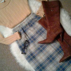 XL Plaid Wool Fall Skirt