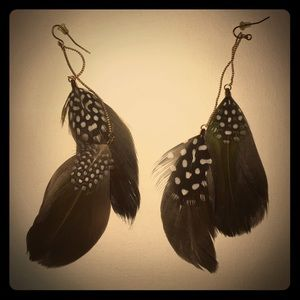 Jewelry - Polkadot Feather Earrings