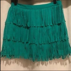 Zara green fringe skirt