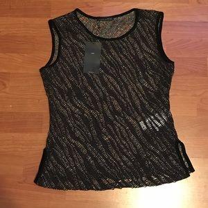 NWT Zara W&B Collection Black Multicolor Top