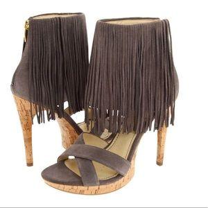 Grey fringe heels size 9.5