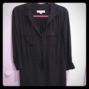 LOFT Black Shirtdress
