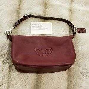 Marsala red leather Coach mini bag