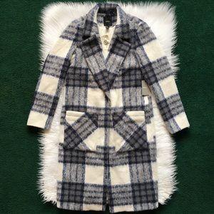 F21 Premium Label NWT Maxi Winter Coat Plaid SZ S