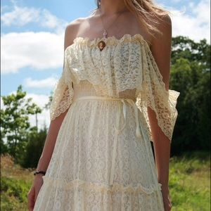 Cream vintage floral lace off shoulder maxi dress