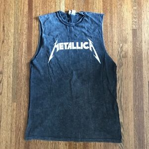 ⚡️ H&M Metallica Tank w/ Raw Sleeves