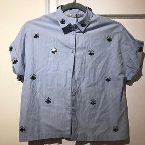 NEVER WORN Baby blue shirt