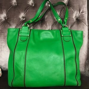 Kate Spade Kelly Green Leather Tote w gld hardware