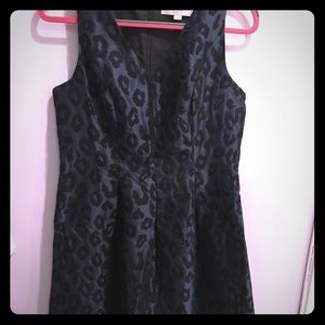 LOFT hunter green/black cheetah evening dress.