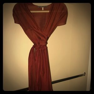 Morgane Le Fay vintage burgundy formal wrap dress