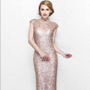Rose Gold Sequin Evening Gown by Primavera