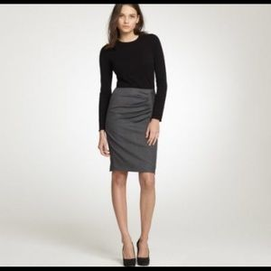 JCREW Pleated zip pencil skirt in Super 120s
