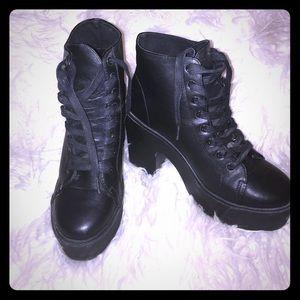 Black platform lace up ankle boots