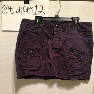 Distressed navy jean/cargo skirt