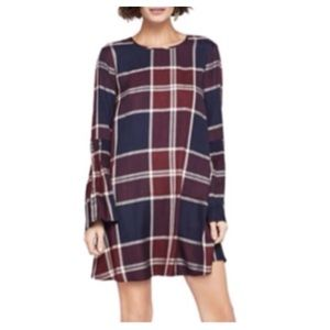 NWT BCBGeneration Plaid Bell Sleeve Shift Dress M