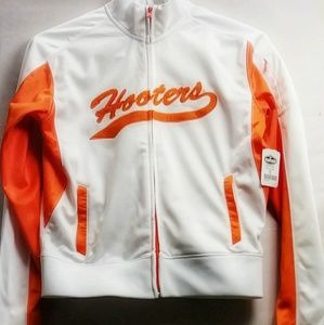 🆕EUC Small White and Orange Hooters Jacket