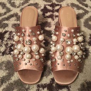 Rose pink pearl and rhinestone slides