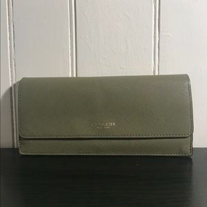 Coach Crosshatched Green Wallet