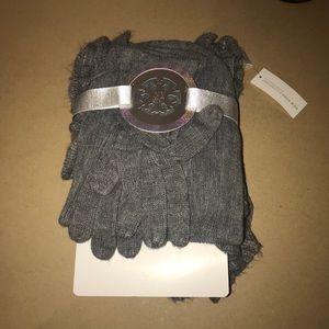 New York & Co. Ruffled Scarf & Glove Set