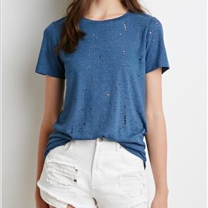 Forever 21 Distressed Crew Tee
