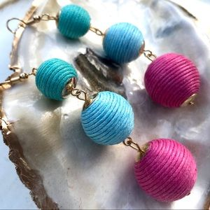 Turquoise Blue and Pink Bon Bon Earrings