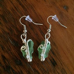 Wire wrapped Seaglass earrings