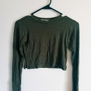 AE olive green crop top