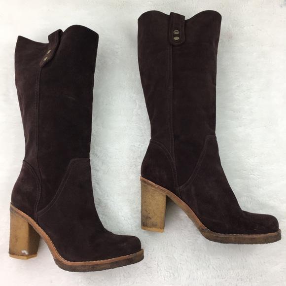 UGG Josie Dark Brown Suede Tall Boots size 8.5