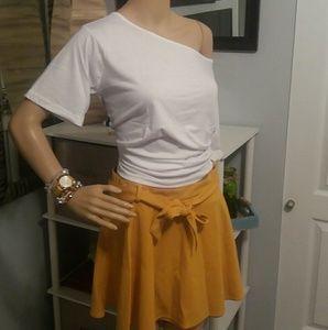 Golden Yellow Belted mini skater skirt
