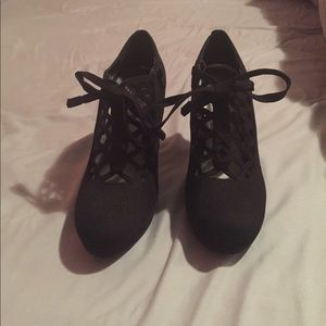 Black lace up booties -size 7.5