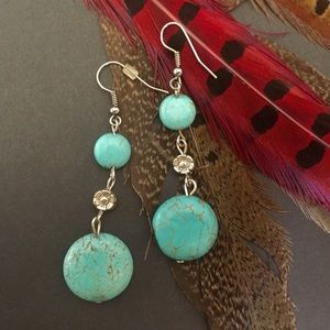 Round turquoise dangle earrings